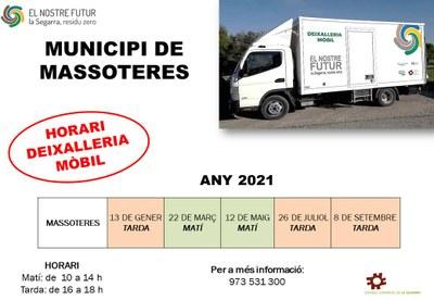 Calendari de la Deixalleria mòbil al municipi, 2021.